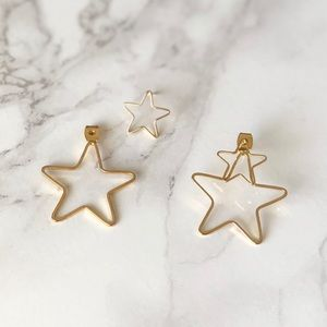 Starburst Double Star Hoop Stud Earrings in Gold